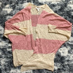 Charming Charlie Pink and Cream Cardigan